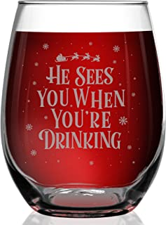Shop4Ever He Sees You When You're Drinking Laser Engraved Stemless Wine Glass