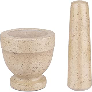 Flexzion Mortar & Pestle Set, Marble Yellow, Kitchen Cooking Accessories/Housewares - Solid 4 in Heavy Granite Molcajete Stone Grinder Crusher Bowl for Guacamole, Herbs, Spices, Medicine Pills & Grain