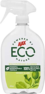 Ajax Eco Multipurpose Cleaner Powerful Biodegradable Formula Coconut & Lime Trigger Surface Spray Made in Australia 450mL