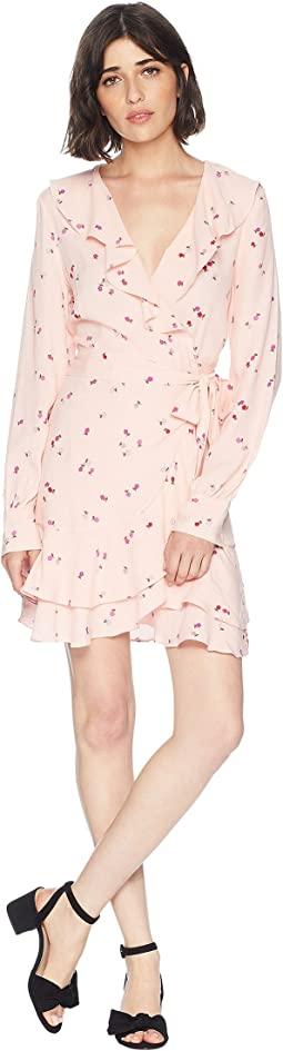 Rose Floral Flirty Wrap Dress