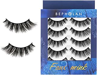 BEPHOLAN 5 Pairs False Eyelashes Synthetic Fiber Material | Natural Flare Look | Cruelty- Free and Handmade | Easy to Apply | 3D Faux Mink Lashes | XMZ116