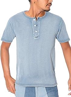 LUX STYLE(ラグスタイル) ヘンリーネック Tシャツ メンズ 半袖 インディゴ デニム