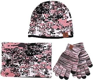 Knit Camouflage Beanie Scarf Touchscreen Gloves Warm Set for Men Women