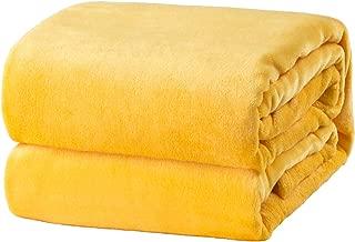Bedsure Flannel Fleece Luxury Blanket Yellow Lightweight Cozy Plush Microfiber Solid Blanket 50x60 in
