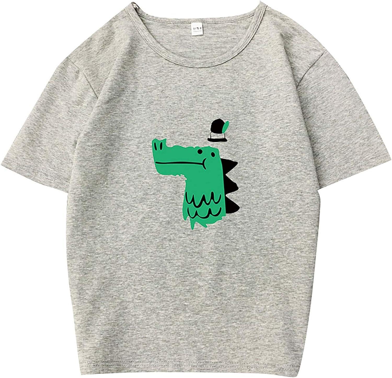 Womens Summer T-Shirt 55% OFF Cute Crewneck Gr Tops Sleeve Cartoon Tulsa Mall Short
