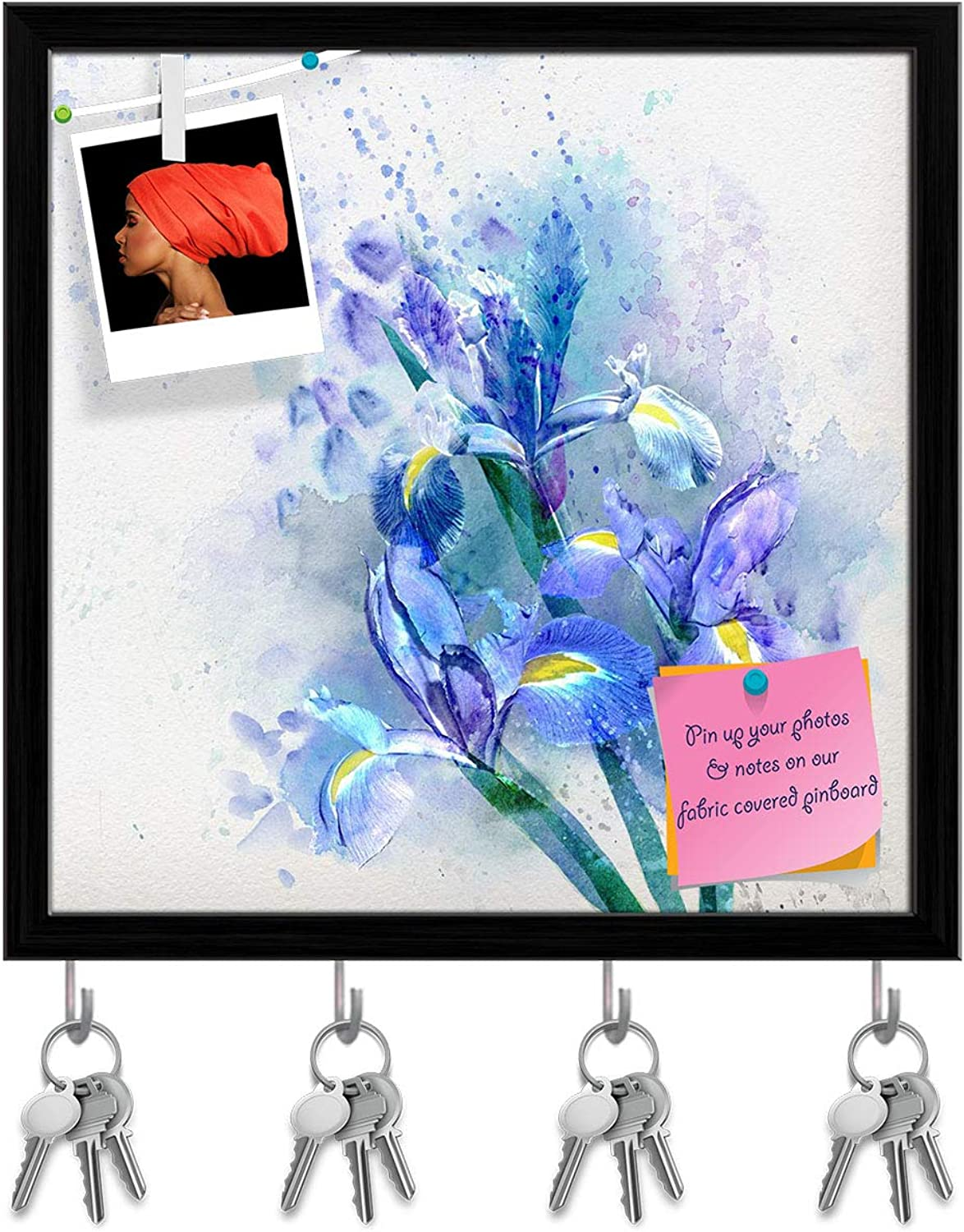 Artzfolio Watercolor Floral Artwork Key Holder Hooks   Notice Pin Board   Black Frame 20 X 20Inch