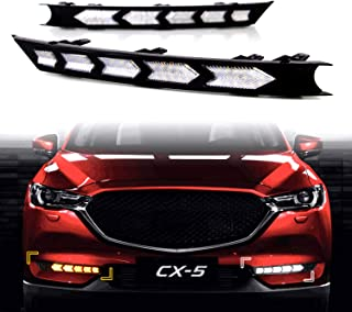KE-KE Arrow Full LED White DRL Daytime Running Light/Amber Dynamic Sequential Turn Signal For 2017 2018 2019 Mazda CX-5 CX5 accessories