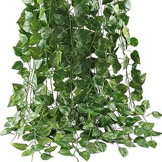 GTIDEA Fake Vines, 12 Pack 84 Feet Artificial Hanging Plants Silk Green Leaf Garlands Home Office Garden Outdoor Wall Gree...