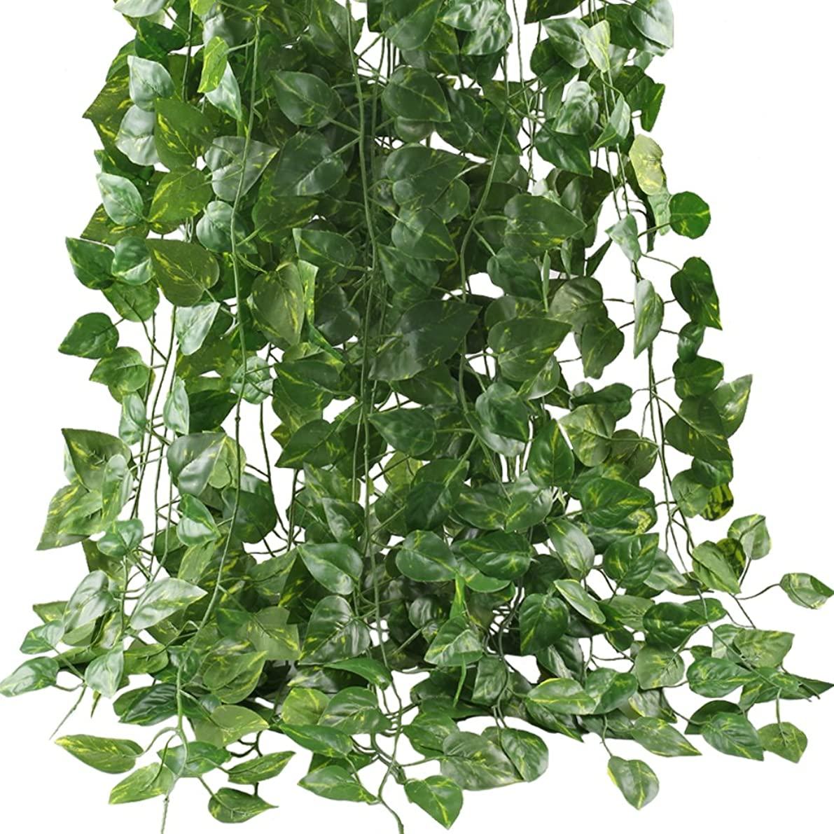 GTIDEA Fake Vines, 12 Pack 84 Feet Artificial Hanging Plants Silk Green Leaf Garlands Home Office Garden Outdoor Wall Greenery Cover Jungle Party Decoration