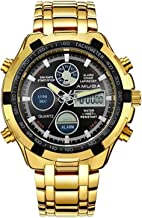 Meetloveyou NEW Fashion Watches Men Luxury Brand Gold Golden Watches Men Sports Quartz-watch Dual Time Relogio Masculino Esportivo gold black