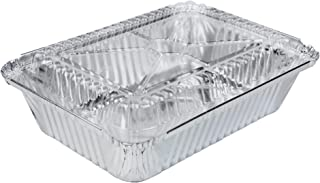 [50 Pack] Rectangular Disposable Aluminum Foil Pan Take Out Food Containers with Clear Plastic Dome Lids, Steam Table Baking Pans, 32 oz, 2.25 lb, Quart