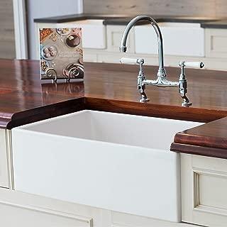 Mayfair SW1 30 Inch Kitchen Farmhouse Sink - Fireclay. White.