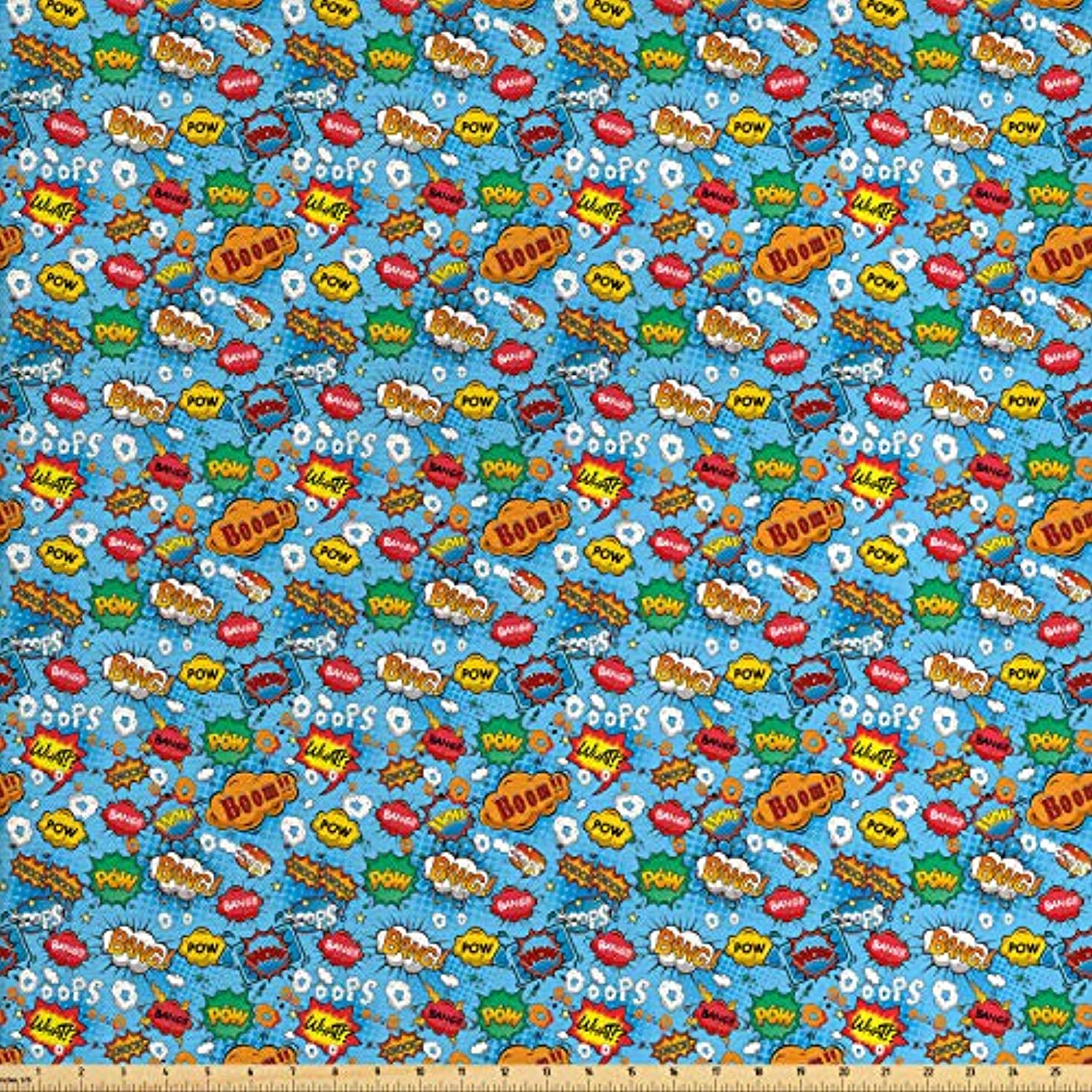 Lunarable Superhero Fabric by The Yard, Colorful Comic Style Icons Effects Boom Scream Magazine Signs Pop Art Illustarion, Decorative Fabric for Upholstery and Home Accents, 1 Yard, Multicolor