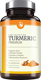 Nobi Nutrition Turmeric Curcumin with Bioperine and 95% Curcuminoids - Back Pain Relief, Joint Support and Anti Inflammatory - Tasteless Black Pepper for Quick Absorption - 90 Vegan Capsules