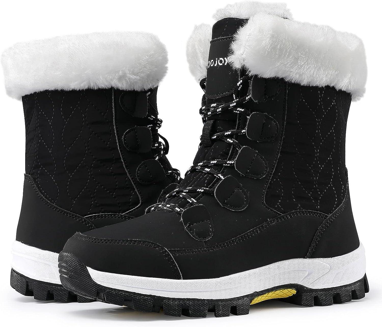 COOJOY Women's Waterproof Snow Boots Winter Mid Calf Shoes