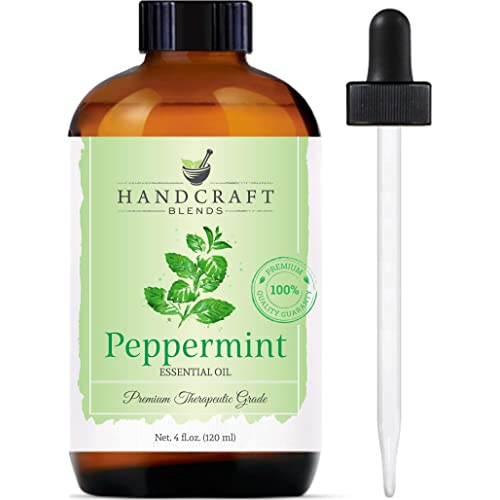 Handcraft Peppermint Essential Oil - 100% Pure and Natural Premium Therapeutic Grade with Premium Glass Dropper - Huge 4 fl. oz