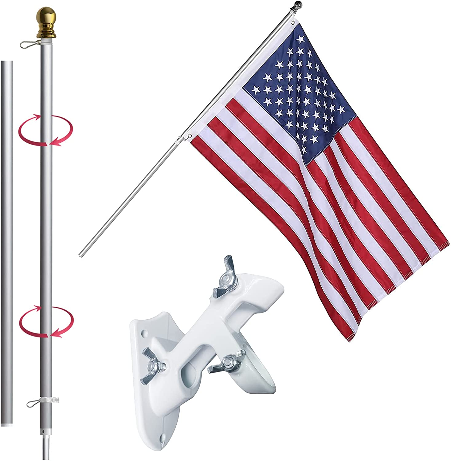 3x5 Dedication American Flag with Pole Including safety 6 US ft Embroidered