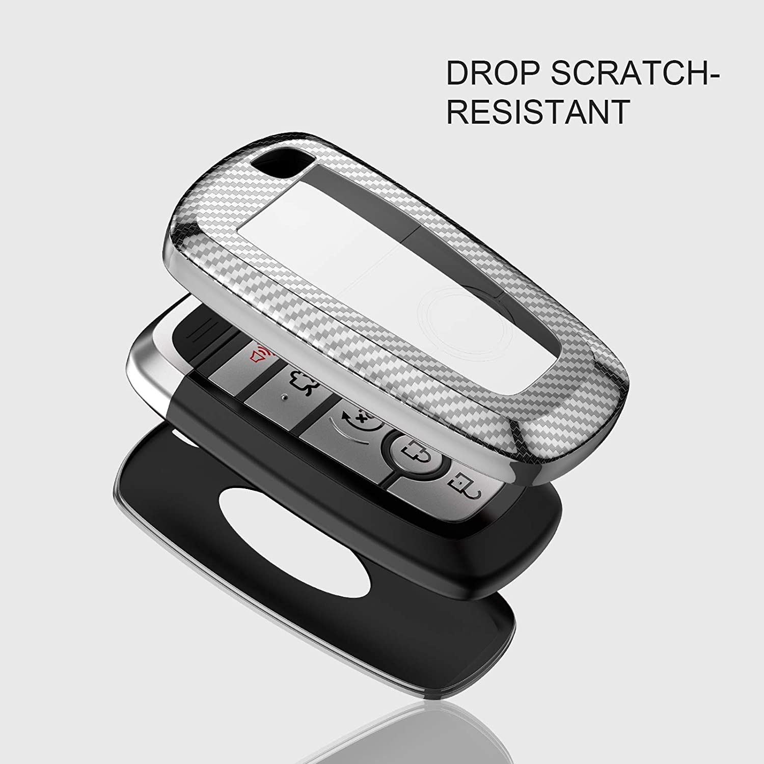 ELOHEI for Ford Key Fob Cover Case Soft TPU Key Fob Case Protector Holder for 2017 2018 2019 Ford Fusion F150 F250 F350 F450 F550 Edge Explorer Escape Mustang Remote Keyless Entry Silver