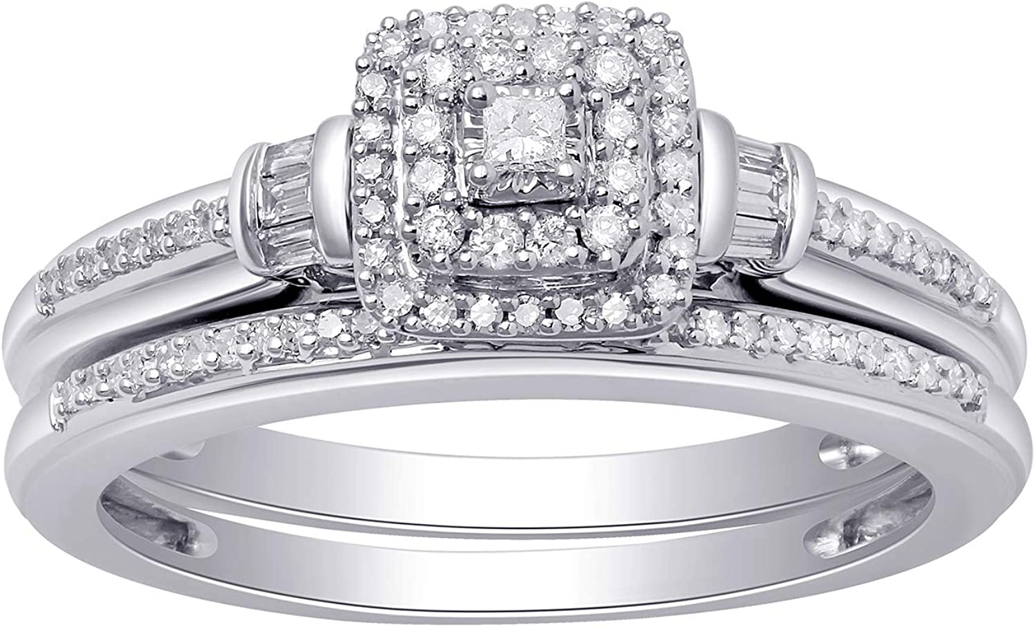 Jewelili 10K White Gold 1/4 CTTW Princess, Baguette and Round Diamond Bridal Ring, Size 7