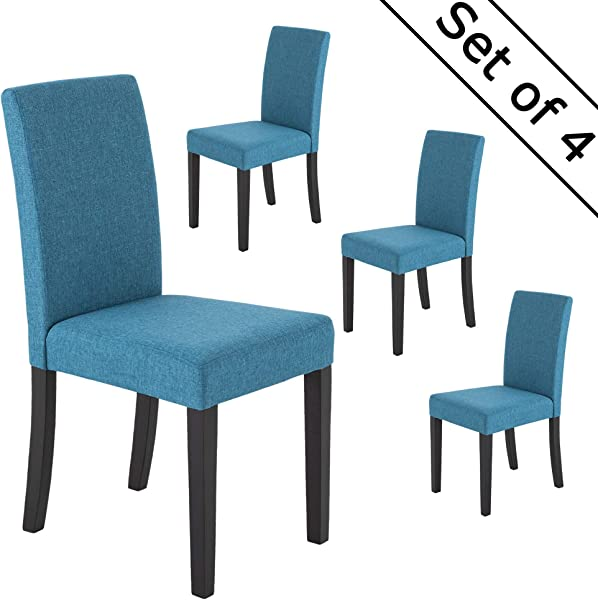 LSSBOUGHT Classic Fabric Dining Chairs Dining Room Chair With Solid Wood Legs Blue Set Of 4