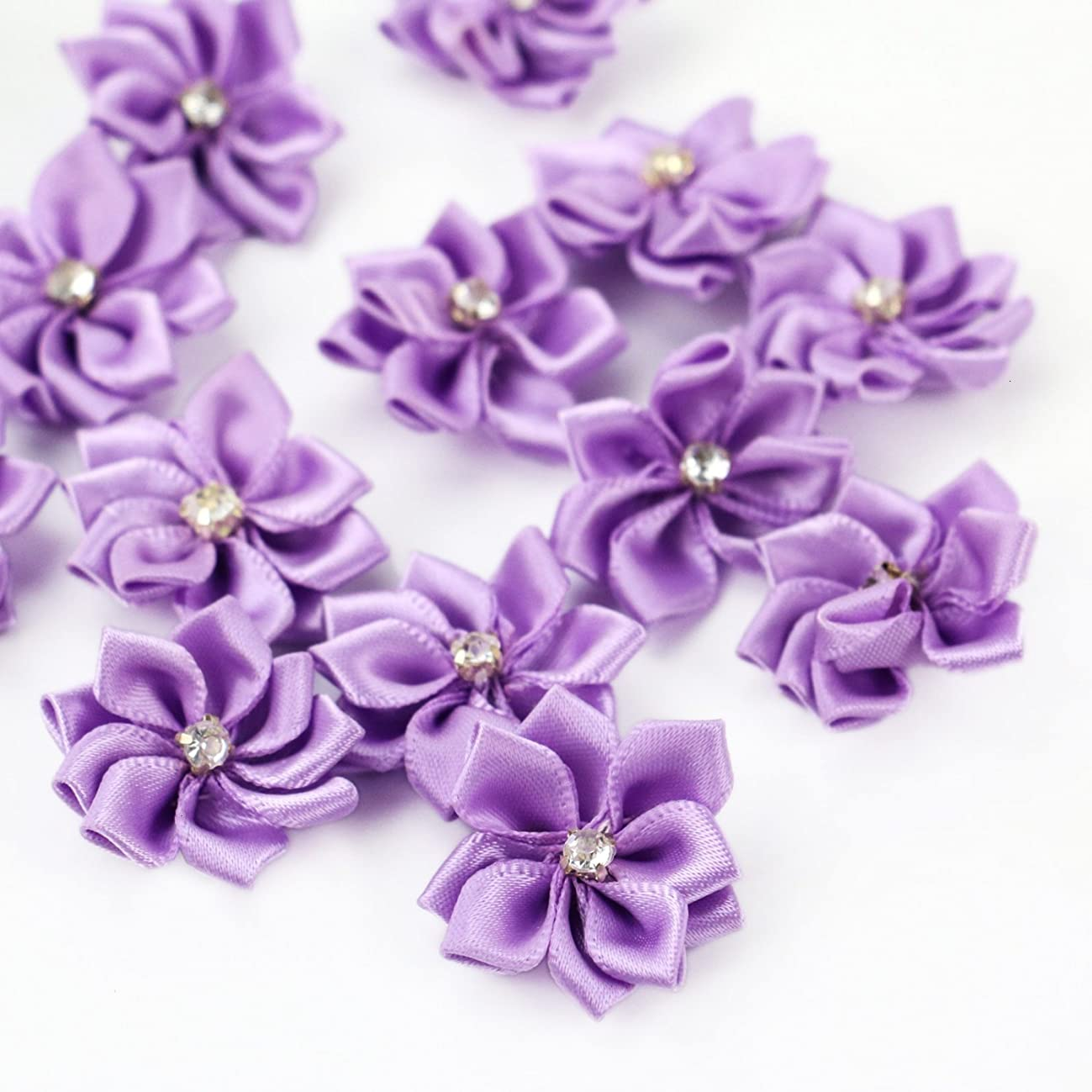 HUELE 40pcs 20mm Purple Satin Ribbon Flowers Bows Rhinestone Wedding Ornament Appliques