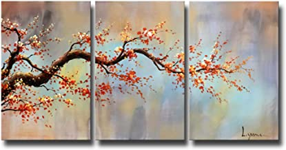 ARTLAND Modern 100% Hand Painted Flower Oil Painting on Canvas Orange Plum Blossom 3-Piece Gallery-Wrapped Framed Wall Art...