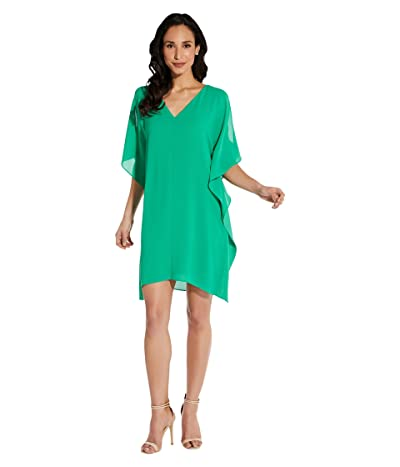 Adrianna Papell Plus Size Gauzy Crepe Caftan Dress (Fiesta Pink) Women