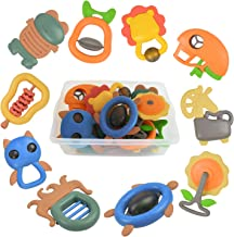 Akamino RattleToys, 10pcs Baby Rattles Teether Set with Vibrant Color and Various Shapes BPA Free Early Educational Toys for 3, 6, 9, 12 Month Infant, Toddler, Boy, Girl