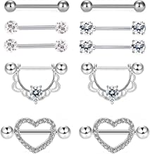 EVELICAL 5 Pairs 14G Stainless Steel Nipplerings Nipple Tongue Rings Barbell CZ Body Piercing Jewelry