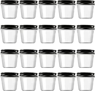 Novelinks 4 Ounce Clear Plastic Jars with Black Lids - Refillable Round Clear Containers Clear Jars Storage Containers for...