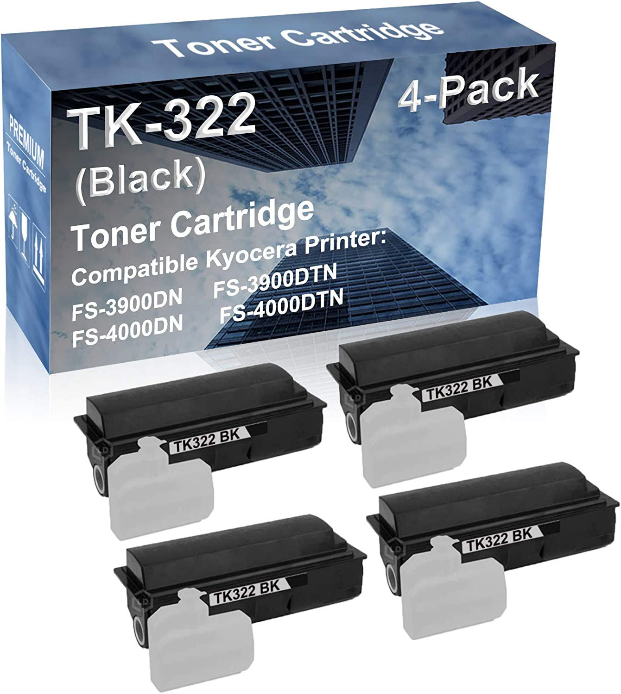 4-Pack Compatible High Capacity FS-3900DN FS-3900DTN FS-4000DN FS-4000DTN Printer Toner Cartridge Replacement for Kyocera TK322 (TK-322) Toner Cartridge (Black)