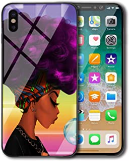 KITATA iPhone Xs Max Case for Girls Slim Fit, African American Women Afro Purple and Black Art Print Design, Shockproof Impact Resistant Drop Protection Protective TPU Silicone