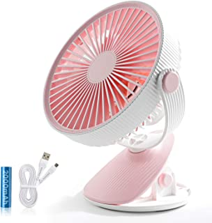 SMARTDEVIL Portable Desk Fan, Lower Noise, USB Rechargeable Battery Operated Fan with 3 Speeds, 2000Mah Battery for Home, ...