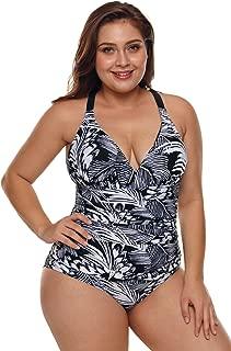 Womens Halter One Piece Swimsuits Braid Macrame Print Tummy Control Swimwear 2XL Palm Leaf