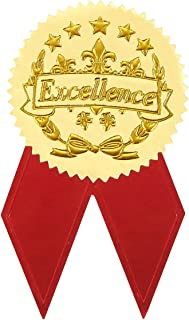 Best Paper Greetings Award Stickers - 48 Gold Certificate Seals with 48 Red Ribbon Shaped Stickers, Excellence Star Stickers for Certificates