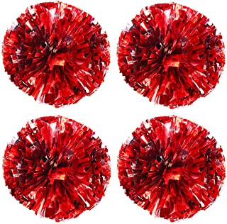 TTSAM 4 Pack (2 Pair) Metallic Foil Cheerleader Pom Poms & Plastic Ring Cheer Poms with Baton Handle Cheerleading Pompoms ...
