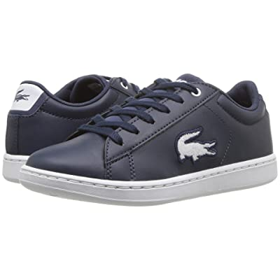 Lacoste Kids Carnaby Evo (Little Kid) (Navy/White) Kids Shoes