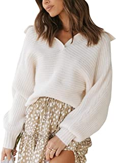 ECOWISH Womens Knit Sweaters V Neck Pullover Long Sleeve Plain Sweater