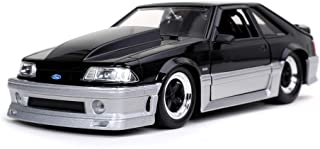 Bigtime Muscle 1:24 1989 Ford Mustang GT Die-cast Car Black Silver, Toys for Kids and Adults
