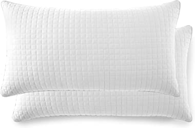 "Southshore Fine Linens - VILANO Springs - Pair of Quilted Pillow Sham Covers (No Inserts), 20"" x 36"", Bright White"