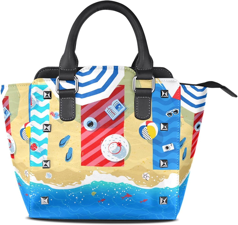 My Little Nest Women's Top Handle Satchel Handbag Summer Beach Mats Parasols Seaside Print Ladies PU Leather Shoulder Bag Crossbody Bag