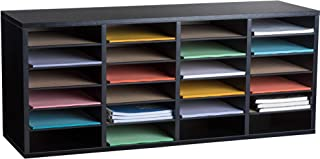 AdirOffice - Black - Wooden Literature Storage Organizer - File Sorter - Paper and Book Holder with Adjustable Shelves - G...