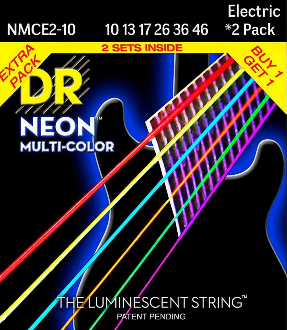 Cheap DR Strings Hi-Def NEON Multi-Color Medium Electric Guitar Strings (10-46) 2 Pack Black Friday & Cyber Monday 2019
