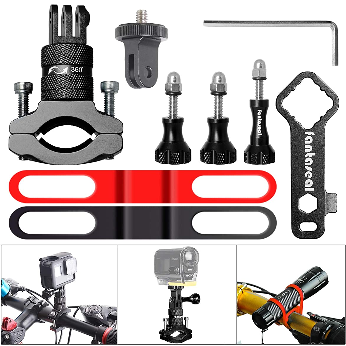 8in1 Aluminum Alloy 360° Roatary Action Camera Bike Handlebar Clamp Mount Kit Motion Sports Camcorder BMX Motorcycle Bicycle Seatpost Pole Holder Compatible GoPro Sony DJI OSMO Action DBPOWER Akaso