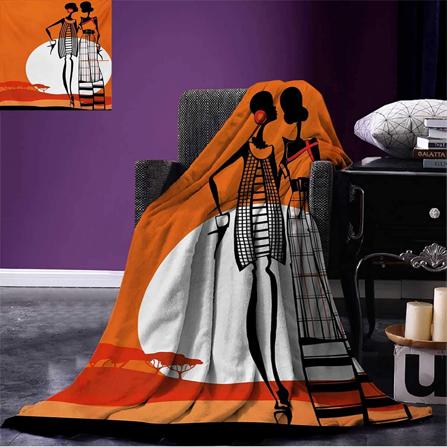 Anniutwo African Summer Blanket Desert Sunset Scenery Fashionable Stylish African Women with Trees Picture Beach White orange Black W80 x L60 inch