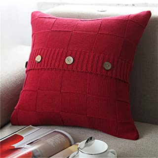 ChezMax Grid Throw Pillow Cover with Wooden Buttons Handwoven Knit Cotton Pillow Case Square Decorative Cushion Cover for Bed Couch Home Decor 18 X 18 inches Wine Red