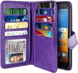 NEXTKIN Moto E4 Plus (USA) Case, Leather Dual Wallet Folio TPU Cover, 2 Large Pockets Double flap, Multi Card Slots Snap Button Strap For Motorola Moto E4 Plus XT1774 XT1776 USA Version - Purple