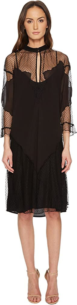 Just Cavalli - Mesh Inset 3/4 Sleeve Dress