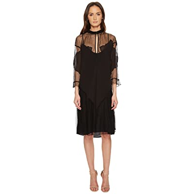 Just Cavalli Mesh Inset 3/4 Sleeve Dress (Black) Women
