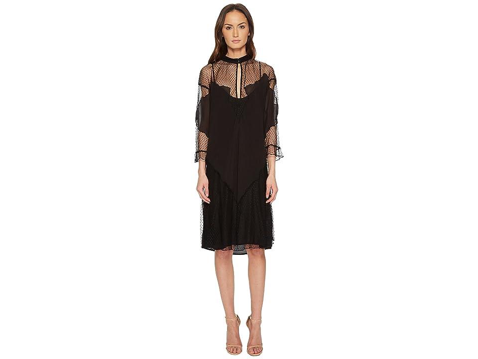 Just Cavalli Mesh Inset 3/4 Sleeve Dress (Black) Women